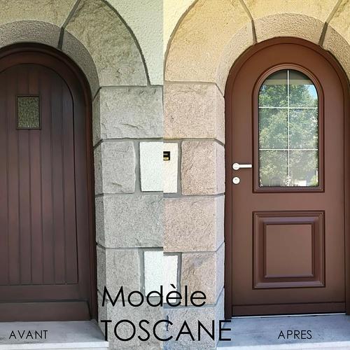 Pose d''une porte d''entrée - Modèle Toscane